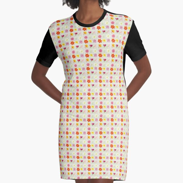 Colorful Lilies Graphic T-Shirt Dress