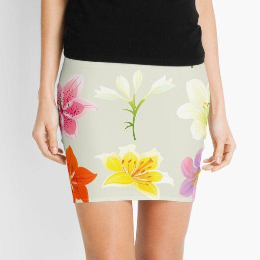 Colorful Lilies Mini Skirt