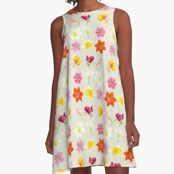 Colorful Lilies A-Line Dress