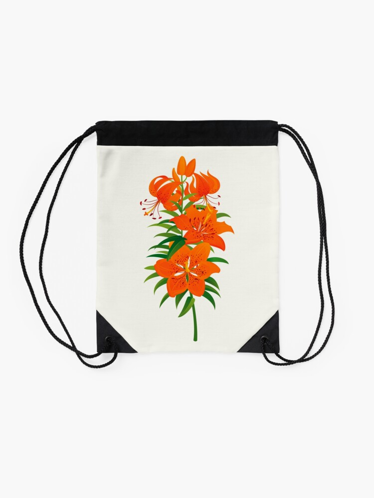 Alternate view of Red Lily Drawstring Bag