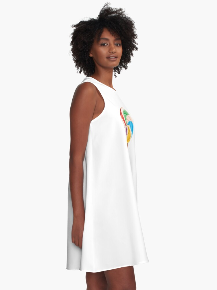 Alternate view of Colorful Lollypop on White A-Line Dress