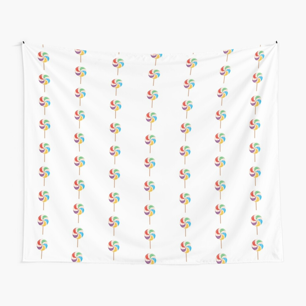 Colorful Lollypop on White Wall Tapestry