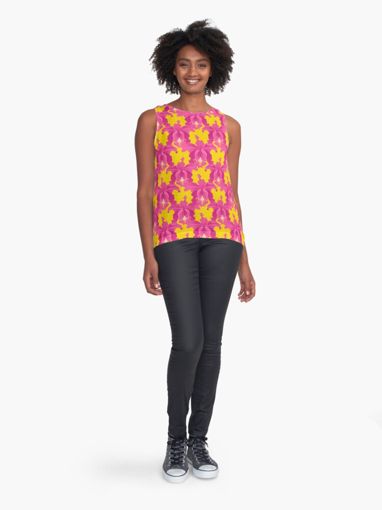 Alternate view of Pink Orchids Sleeveless Top