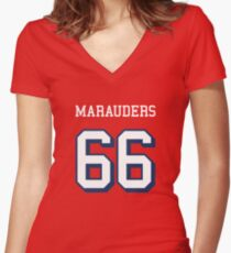 Marauders 66 Red Jersey Women's Fitted V-Neck T-Shirt