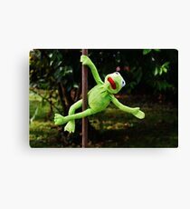 Kermit the frog on a pole Canvas Print