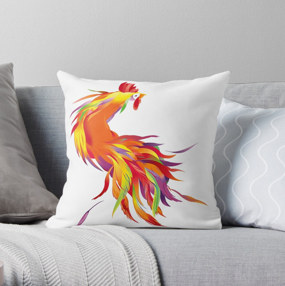 Red Cock Throw Pillow