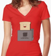 Nintendo Sandwich (Nintendo Switch Parody) Women's Fitted V-Neck T-Shirt