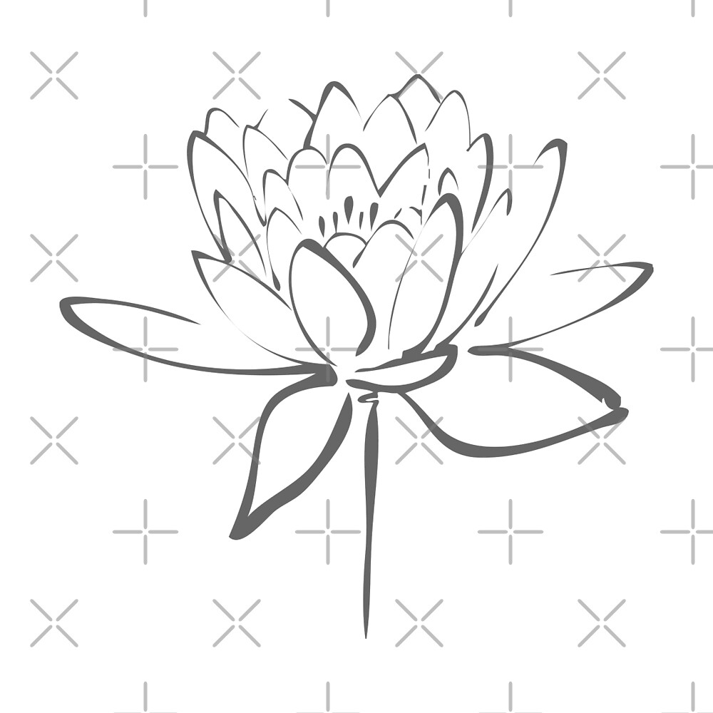 Quot lotus flower calligraphy smoke grey by makanahele