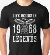 Life Begins In 1968 Birth Legends T-Shirt