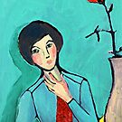 Girl with a rose by Claudia Dingle