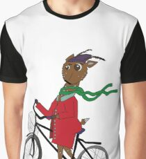 Diego the Deer Rides his Bicycle Graphic T-Shirt