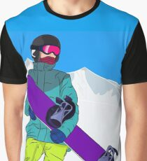 Snowboarder man with snowboard in mountain Graphic T-Shirt