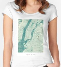 New York Map Blue Vintage Women's Fitted Scoop T-Shirt