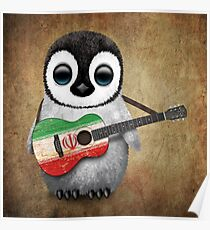 Baby Penguin Playing Iranian Flag Guitar Poster