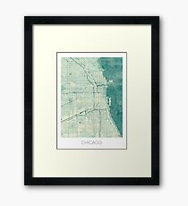 Chicago Map Blue Vintage Framed Print
