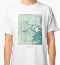 Boston Map Blue Vintage Classic T-Shirt