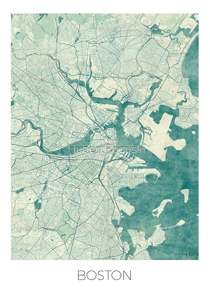 Boston Map Blue Vintage by HubertRoguski