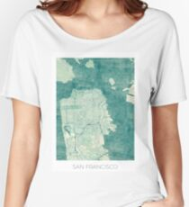 San Francisco Map Blue Vintage Women's Relaxed Fit T-Shirt