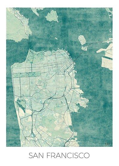 San Francisco Karte blau Vintage von HubertRoguski