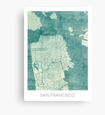 San Francisco Map Blue Vintage Metal Print