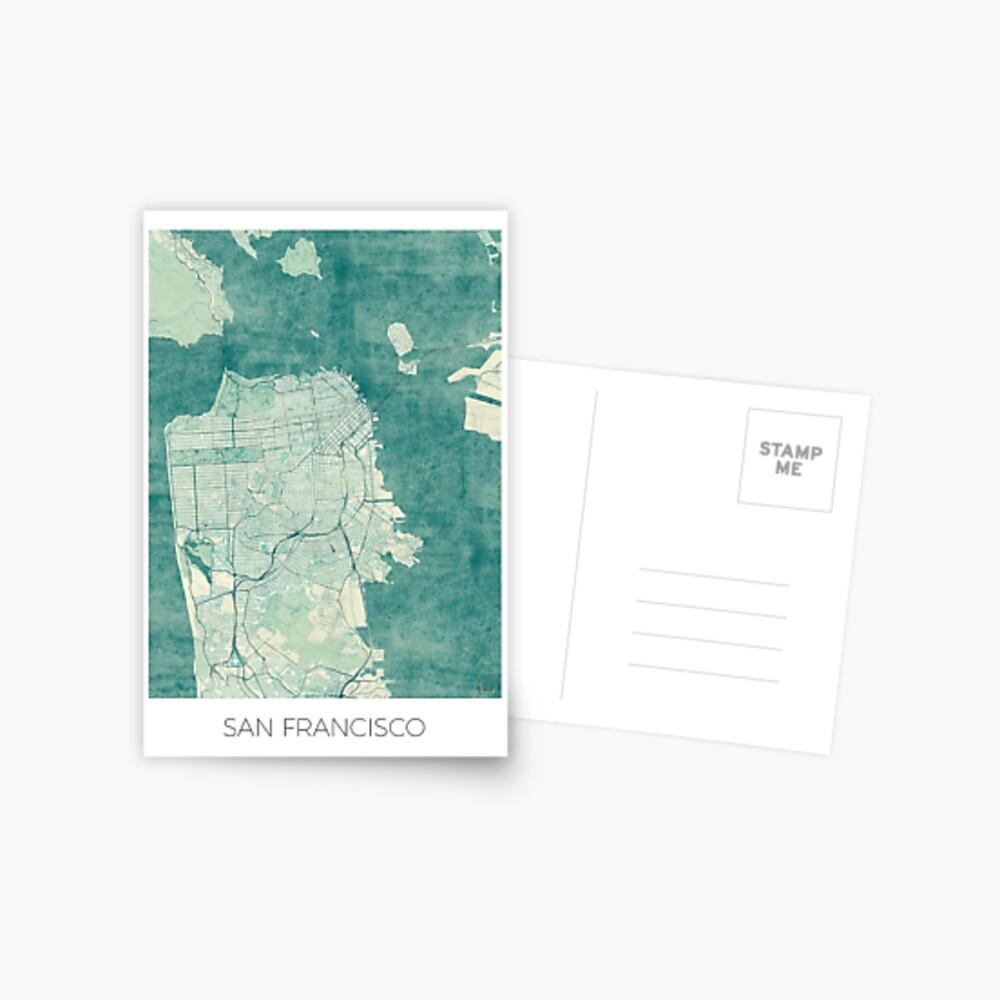 San Francisco Karte blau Vintage Postkarte