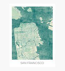 San Francisco Map Blue Vintage Photographic Print