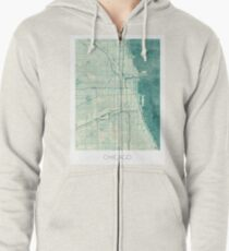 Chicago Map Blue Vintage Zipped Hoodie