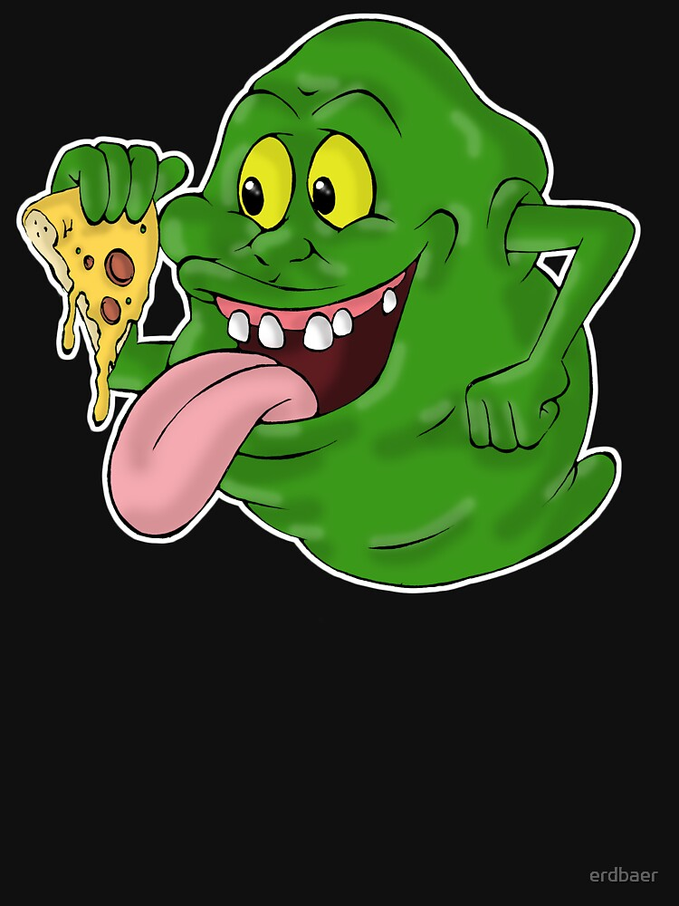 Slimer Eating Pizza Classic T Shirt Von Erdbaer Redbubble