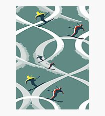 Mid Century Figure 8 Skiers in Retro Style on Teal Photographic Print