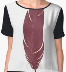 Garnet and Gold Feather Chiffon Top