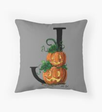 J for Jack-o-lantern Watercolor Painting Throw Pillow