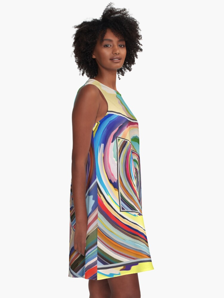 Alternate view of Spinning Colors Abstract A-Line Dress