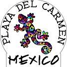 PLAYA DEL CARMEN MEXICO LIZARD GECKO TROPICAL HIBISCUS FLOWER COLORFUL RAINBOW TROPICAL BEACH by MyHandmadeSigns