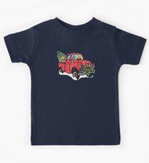 Golden Retrievers Christmas Red Truck Kids Tee