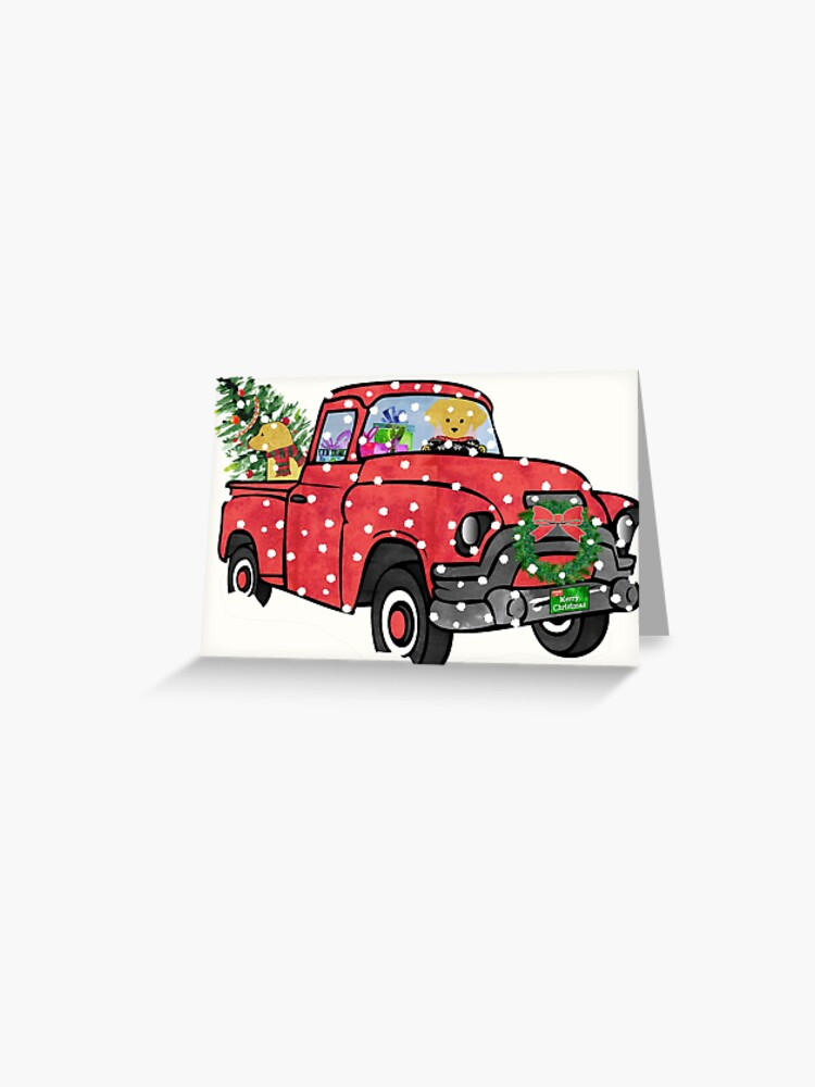 Christmas Red Truck.Golden Retrievers Christmas Red Truck Greeting Card