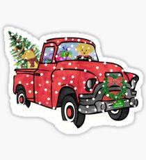 Golden Retrievers Christmas Red Truck Sticker