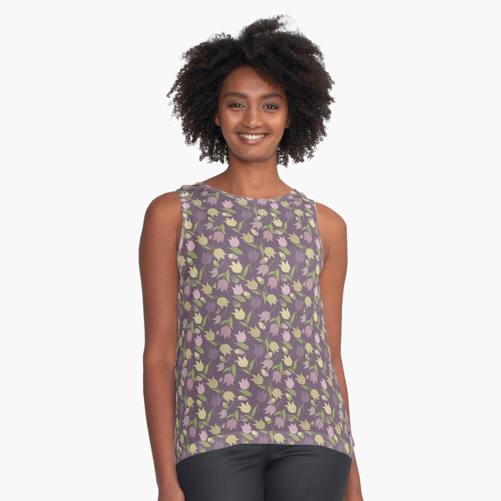 Tulips Pattern  Sleeveless Top
