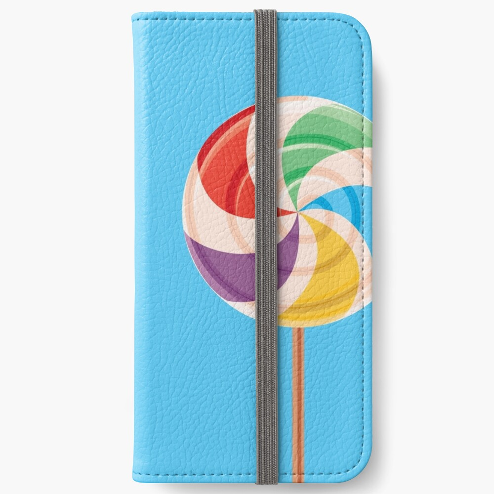 Colorful Lollypop on Blue iPhone Wallet