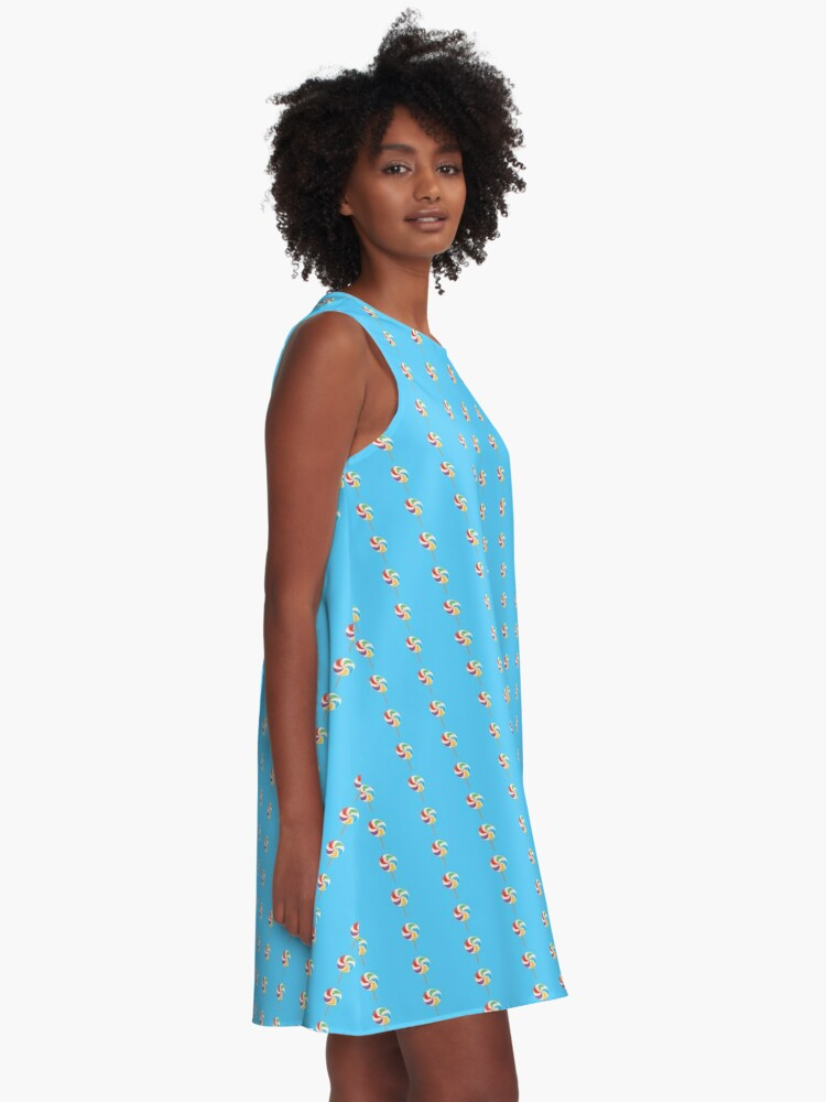Alternate view of Colorful Lollypop on Blue A-Line Dress