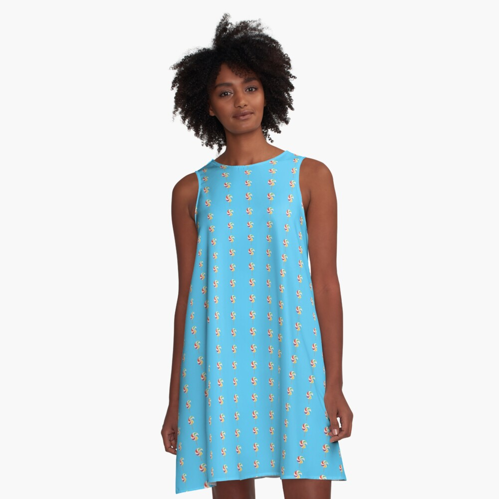 Colorful Lollypop on Blue A-Line Dress