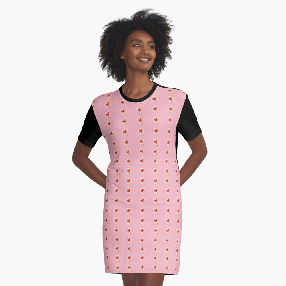 Lollypop with Heart Graphic T-Shirt Dress