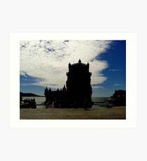 Vintage Belem Tower Silhouette | Torre de Belem Art Print