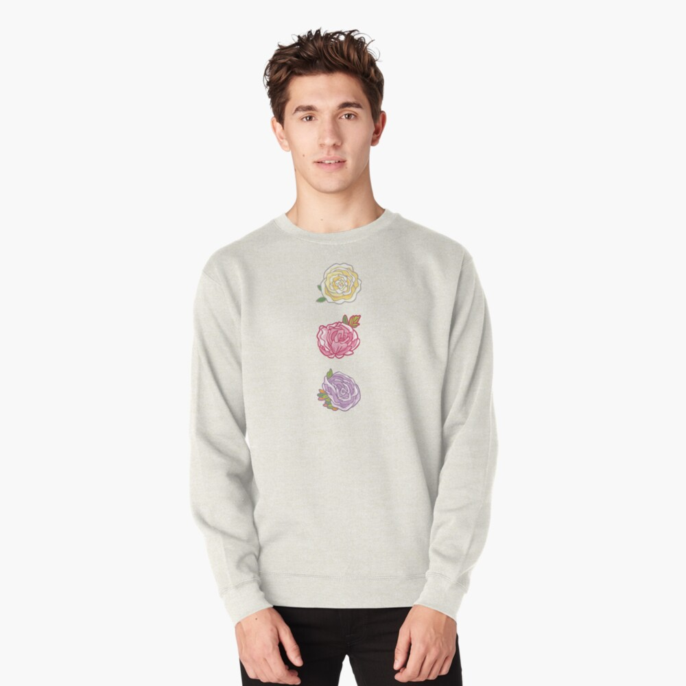 Decorative Roses Pullover Sweatshirt