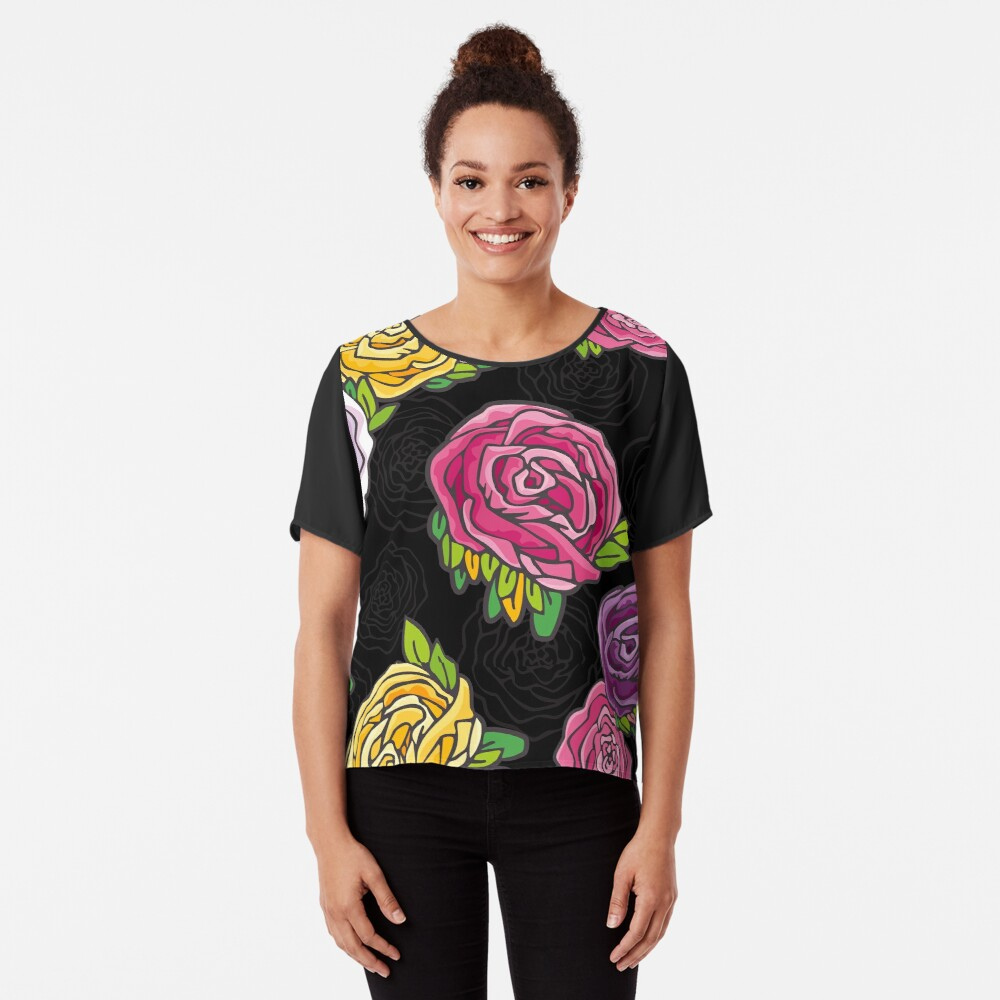 Vintage Roses Chiffon Top