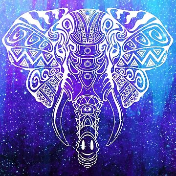 Cosmic Elephant: Spiritual Space Mosaic by TheMindBlossom