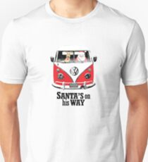VW Camper Santa Father Christmas On Way Red T-Shirt