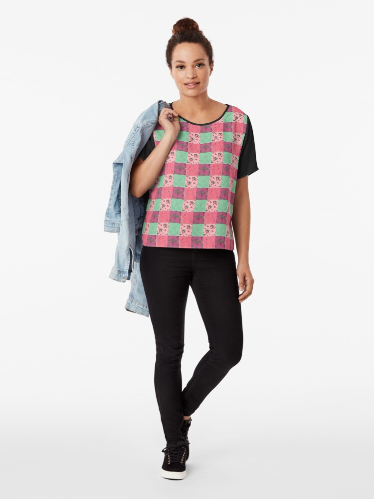 Alternate view of Decorative Berries Pattern Collection Chiffon Top