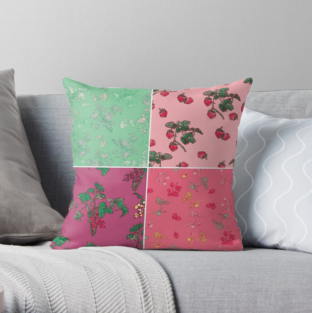 Decorative Berries Pattern Collection Throw Pillow