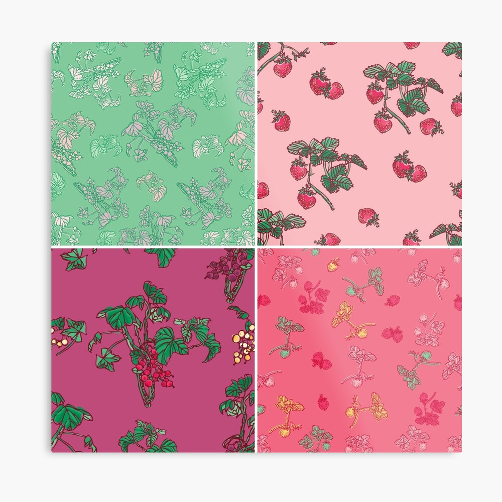 Decorative Berries Pattern Collection Metal Print