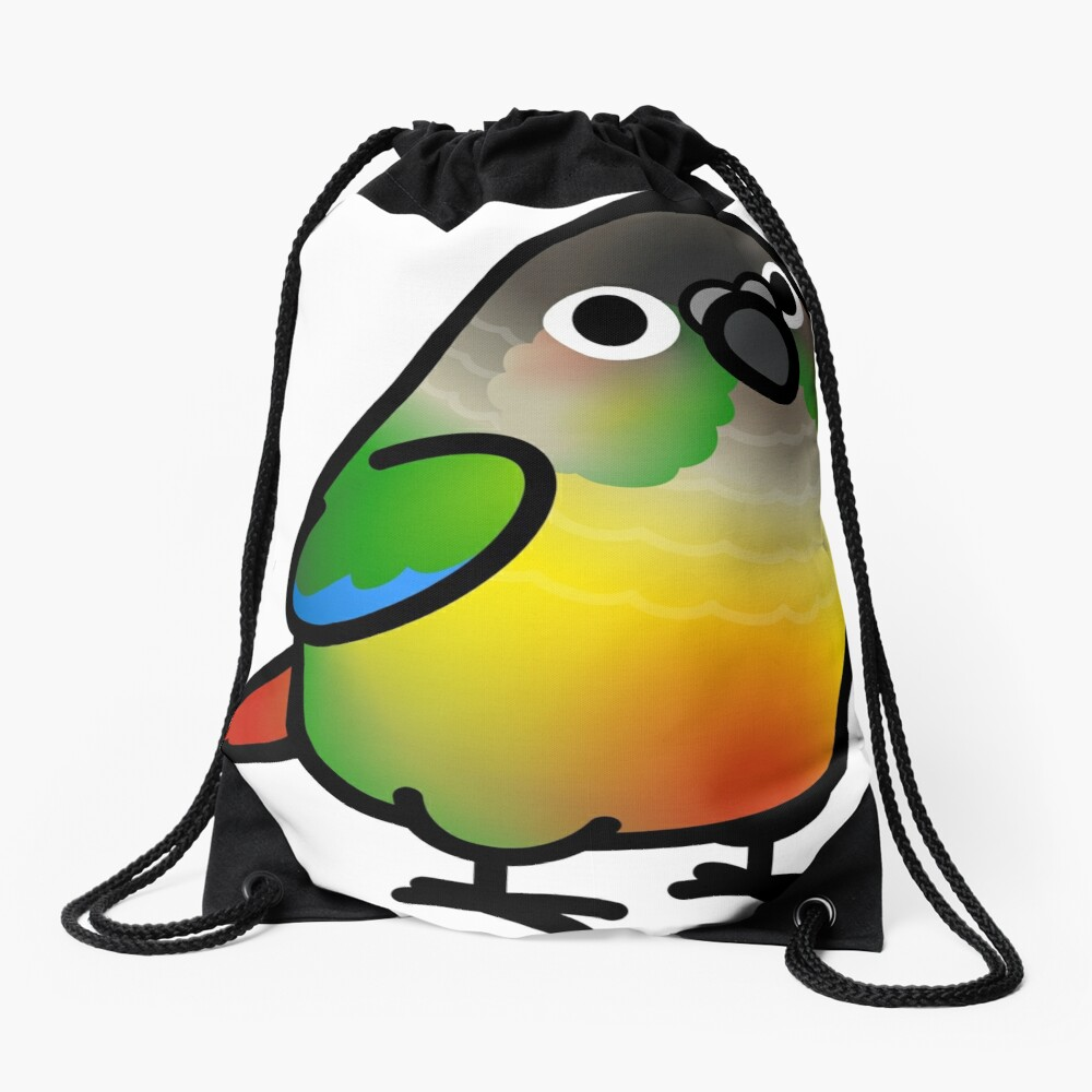 Chubby Green Cheek Conure Yellow-sided Drawstring Bag